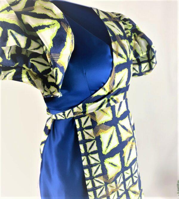 Blue green wrap dress